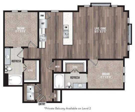 1,189 sq. ft. B5 floor plan