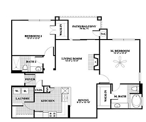 1,175 sq. ft. B1, ALT2 floor plan