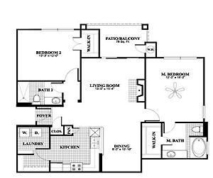 1,175 sq. ft. B1, ALT2 floor plan