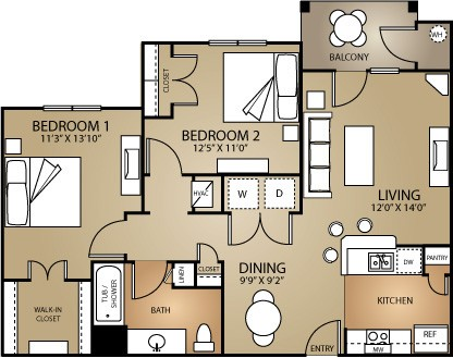 875 sq. ft. SYCAMORE 60 floor plan