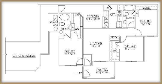 1,190 sq. ft. C1/60% floor plan
