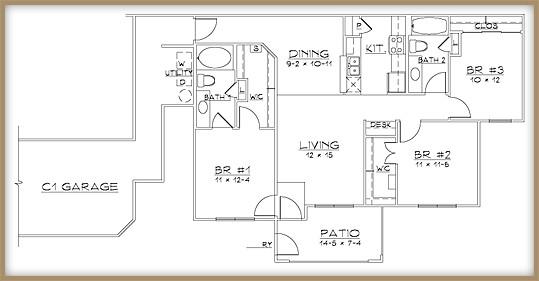 1,190 sq. ft. C1/60% floor plan