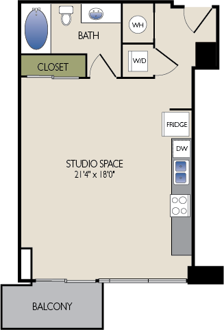 617 sq. ft. C floor plan
