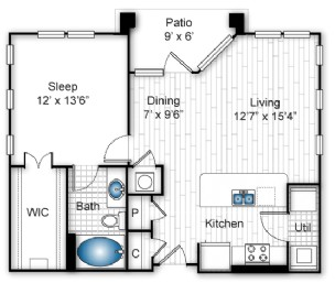 774 sq. ft. A2-A floor plan