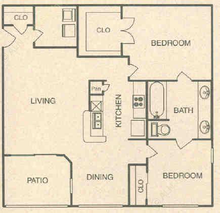 886 sq. ft. B floor plan