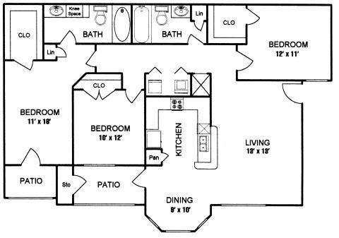 1,205 sq. ft. to 1,375 sq. ft. FREMONT I floor plan