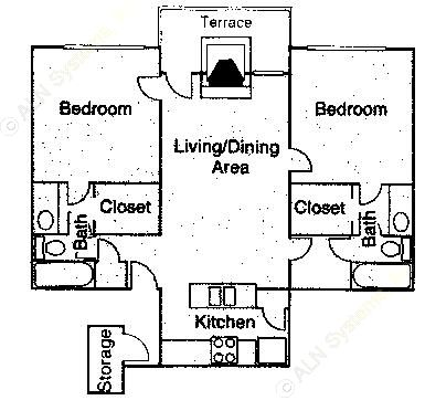1,011 sq. ft. B2 floor plan