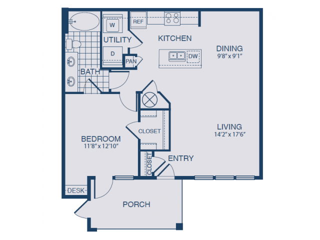877 sq. ft. A3 floor plan