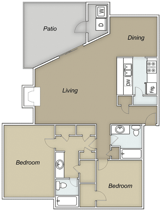 1,228 sq. ft. B2G floor plan