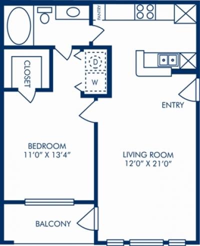 663 sq. ft. C floor plan