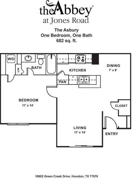 682 sq. ft. A floor plan