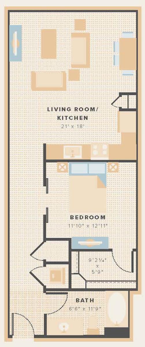 806 sq. ft. E2 floor plan