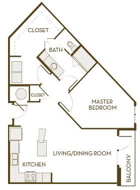 881 sq. ft. A1F floor plan