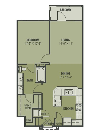 801 sq. ft. Cielo floor plan