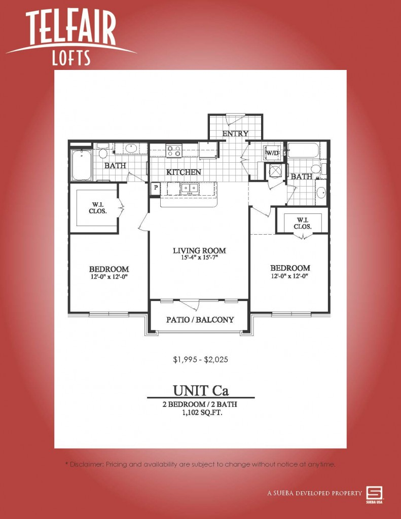 1,102 sq. ft. Ca floor plan