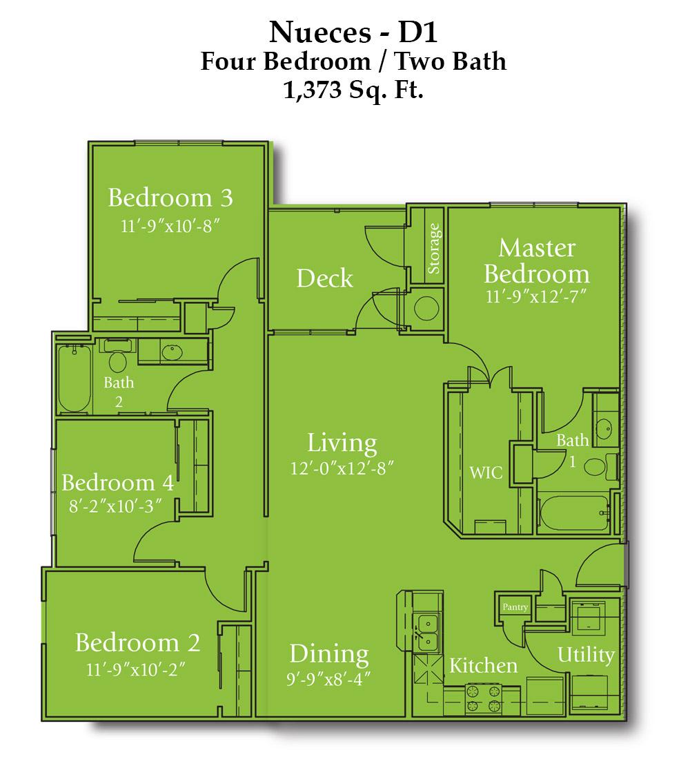 1,373 sq. ft. Nueces floor plan