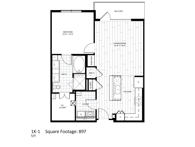 897 sq. ft. 1K-1 floor plan