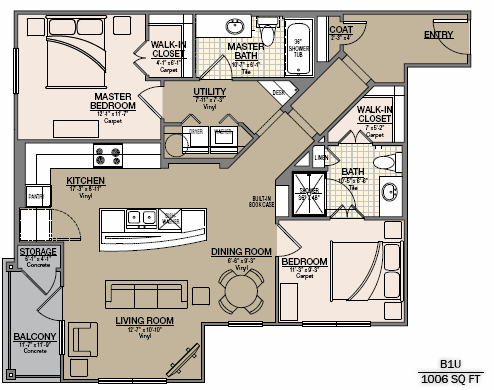 1,114 sq. ft. B8 floor plan