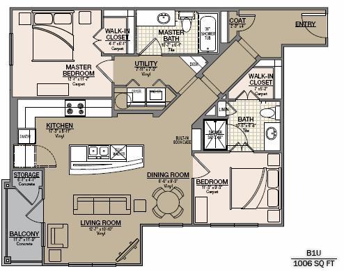 1,114 sq. ft. B8 floor plan