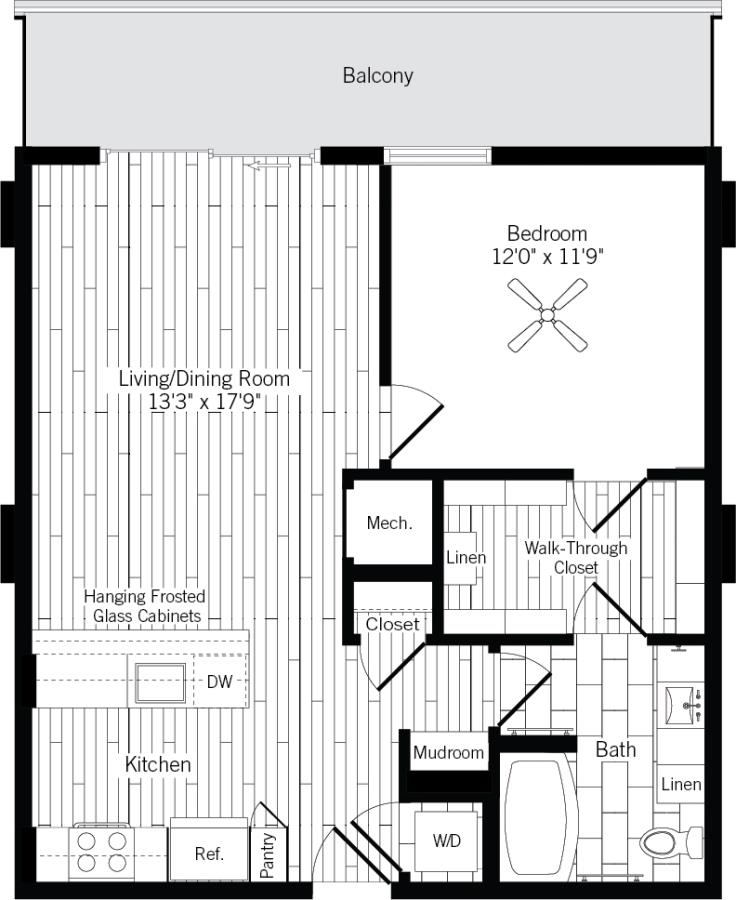 774 sq. ft. 1D-L floor plan