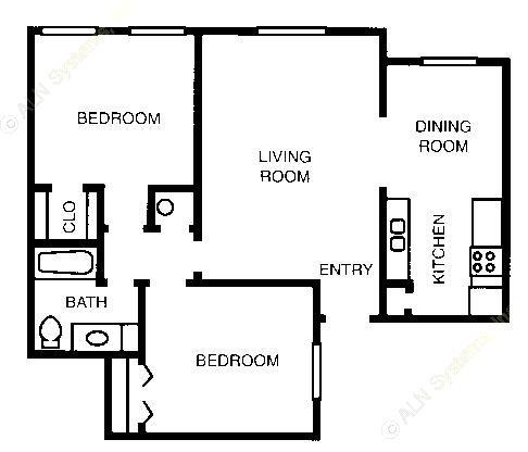 884 sq. ft. 60% floor plan