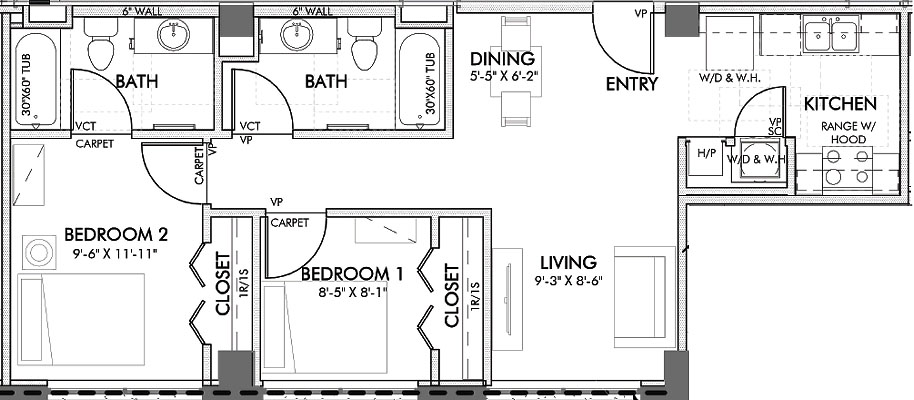 750 sq. ft. Lancaster 60% floor plan