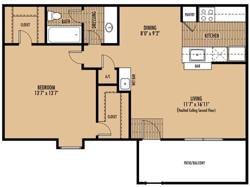 726 sq. ft. B floor plan