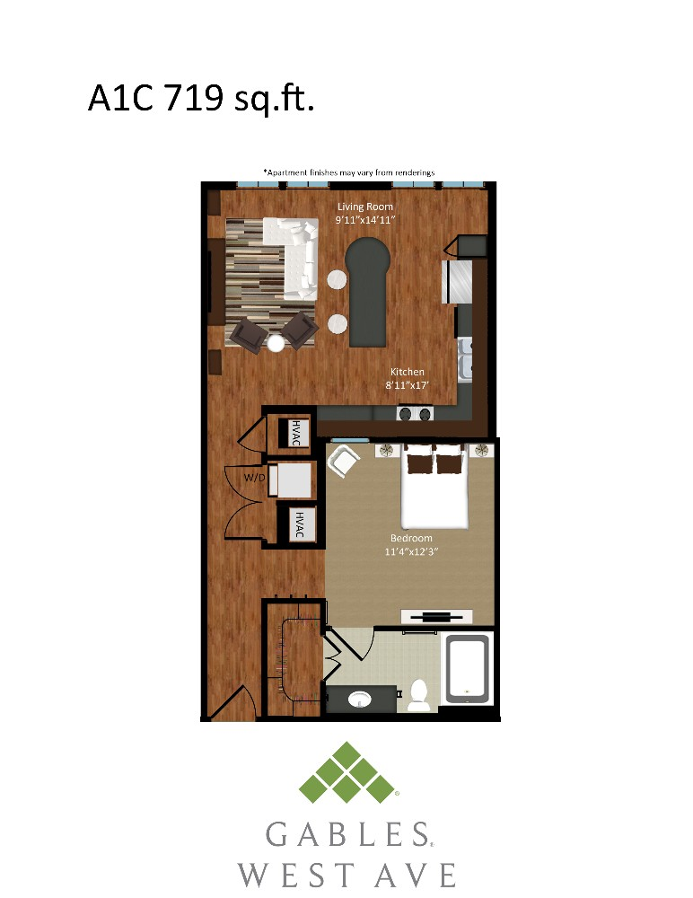719 sq. ft. A1C floor plan