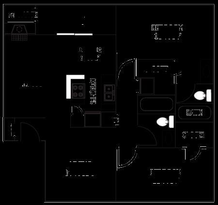 1,144 sq. ft. D9 floor plan