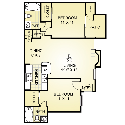 885 sq. ft. B-2 floor plan