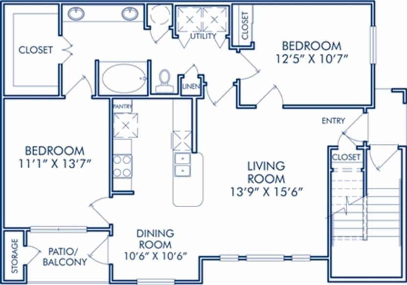 993 sq. ft. E floor plan