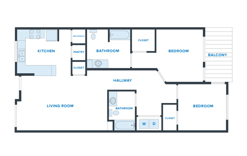 1,200 sq. ft. Liberty floor plan