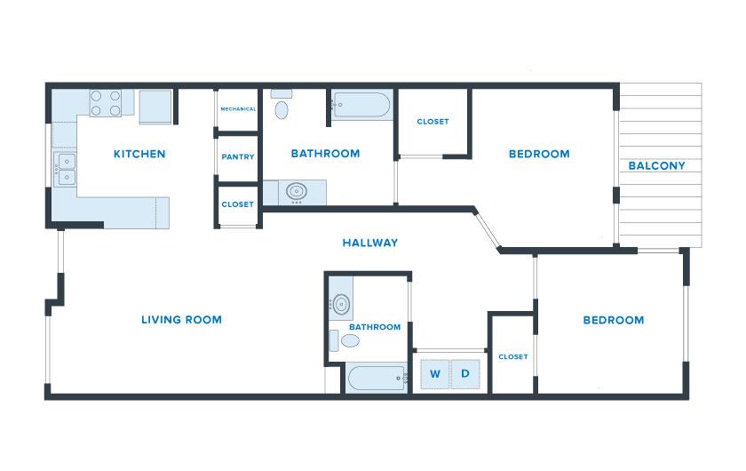 1,200 sq. ft. Liberty floor plan