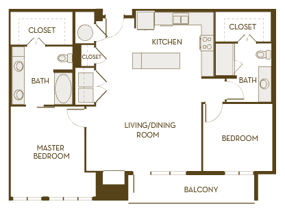 1,216 sq. ft. B2E floor plan
