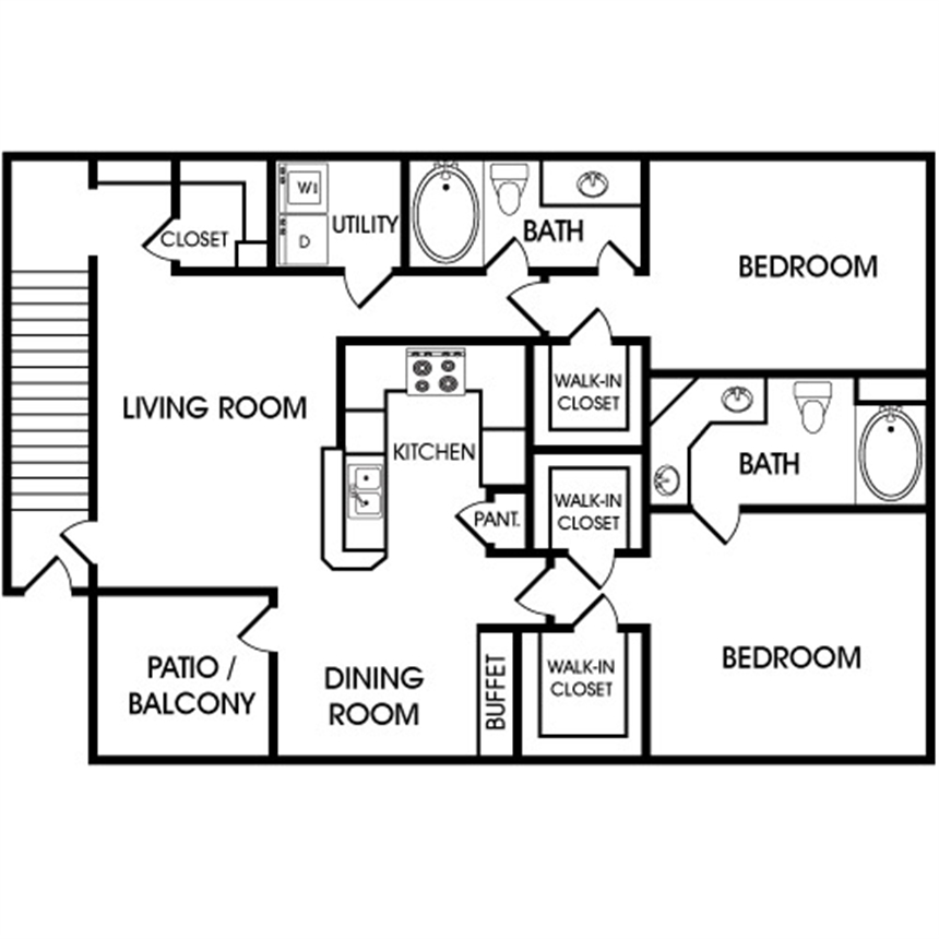 1,208 sq. ft. B2 floor plan