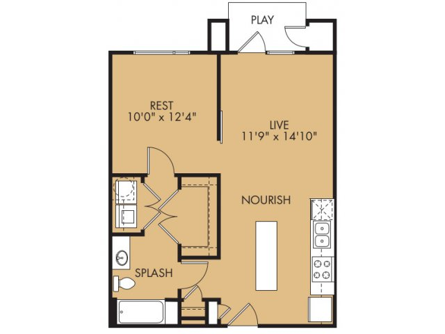 751 sq. ft. A1hx floor plan