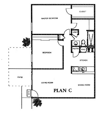 917 sq. ft. ASPEN floor plan