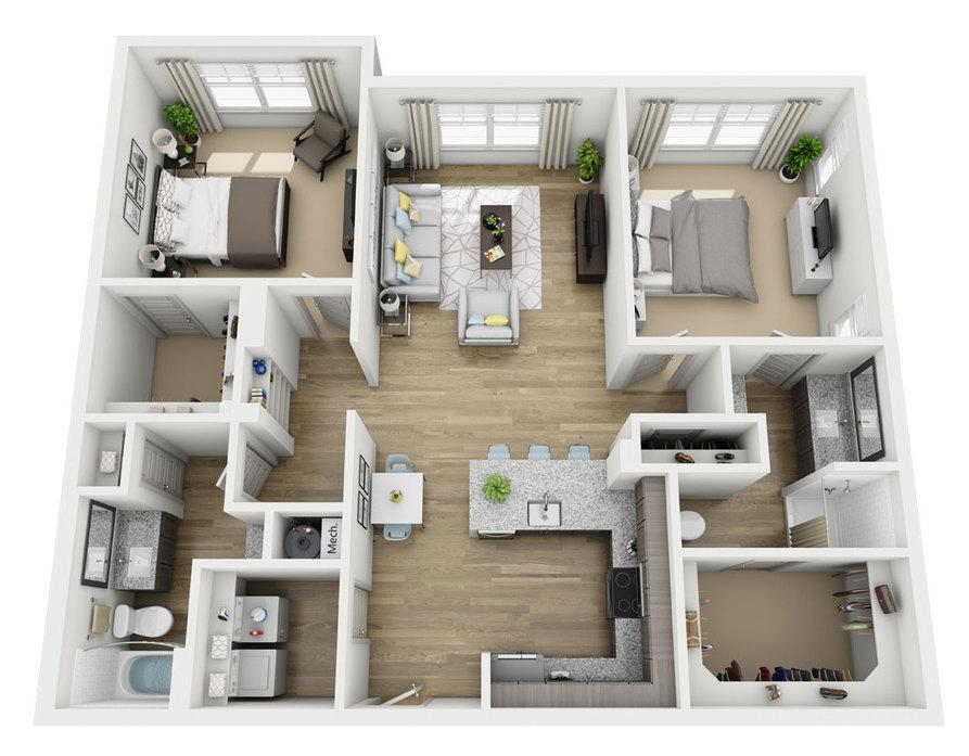 1,215 sq. ft. B3 floor plan