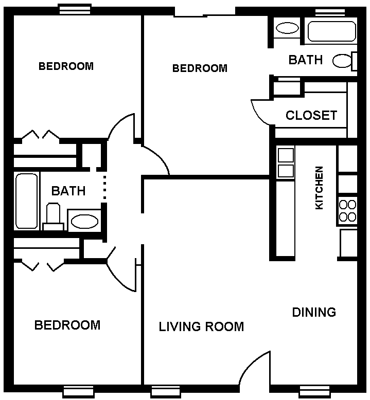 1,111 sq. ft. floor plan