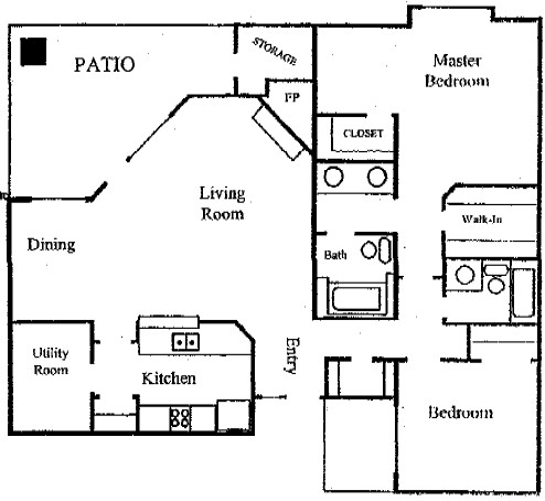 1,300 sq. ft. B2 floor plan