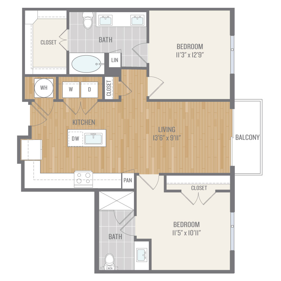 994 sq. ft. B1 floor plan