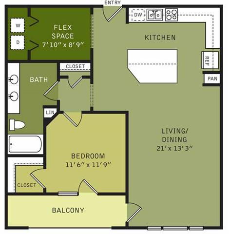 969 sq. ft. floor plan