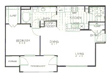 729 sq. ft. Chestnut floor plan