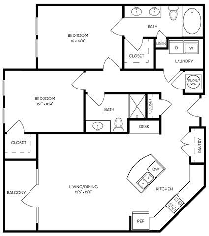 1,143 sq. ft. B2-Turquoise floor plan