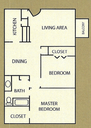 850 sq. ft. Winchester floor plan