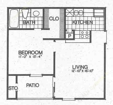 561 sq. ft. A1 floor plan