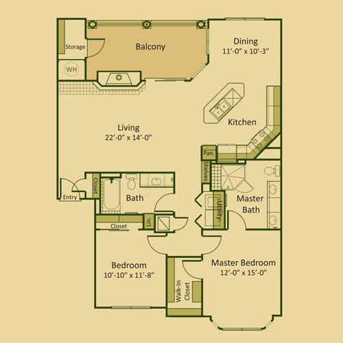 1,286 sq. ft. 2B3 floor plan