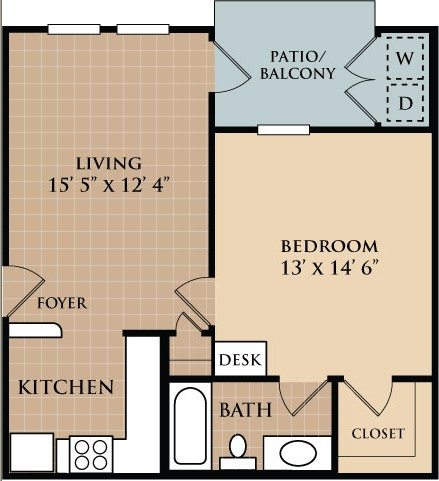 597 sq. ft. Trinity floor plan
