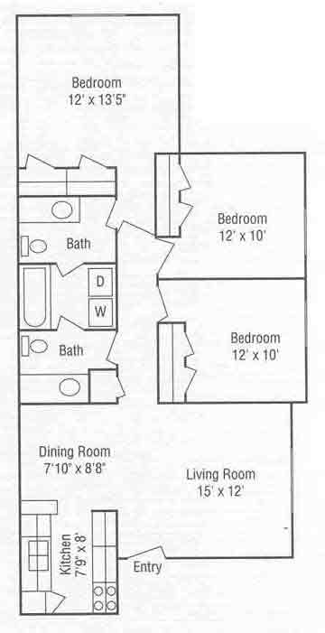 1,011 sq. ft. C floor plan