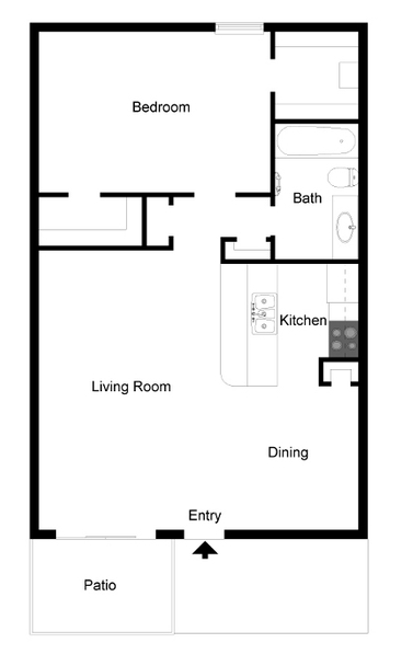640 sq. ft. A5 floor plan